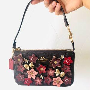 Coach Nolita Floral Daisy Applique Red Mini Purse